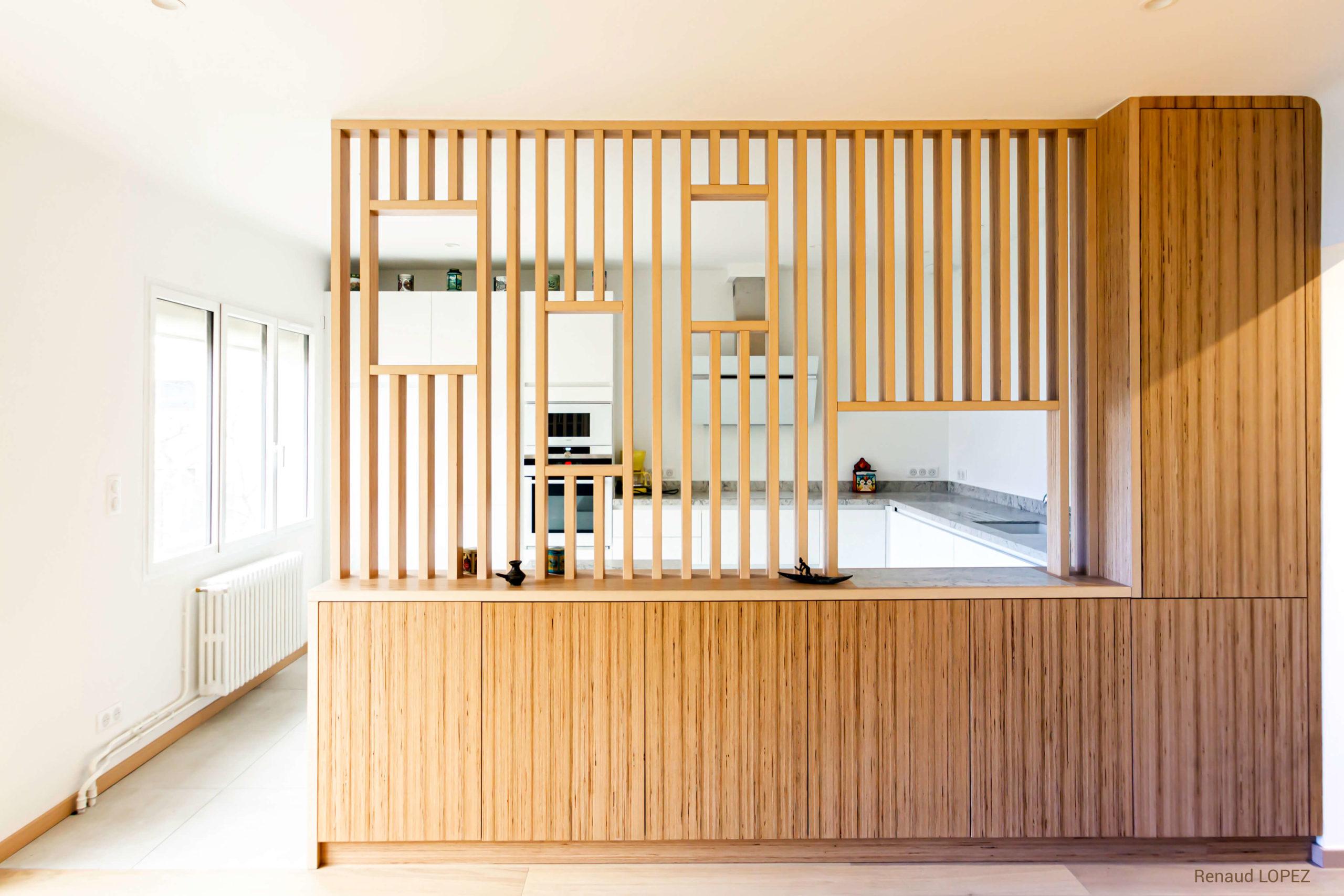 alt= Atmos Architecture - Rénovation d'une maison individuelle - Narbonne - meuble de séparation - Portfolio